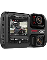 Dual Dash Cam, 4K 2160P Front & FHD 1080P Inside and Outside, WiFi, GPS, Dual 180° Rotatable and 170° Wide Angle Lens, Night Vison, WDR, ADAS, Motion Detection, 24Hour Parking Monitor, G-Sensor Car Camera