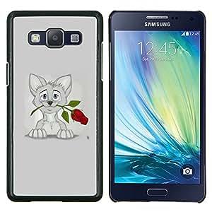 EJOOY---Cubierta de la caja de protección para la piel dura ** Samsung Galaxy A5 A5000 ** --Gatito Gato dulce gris del dibujo del arte Rose