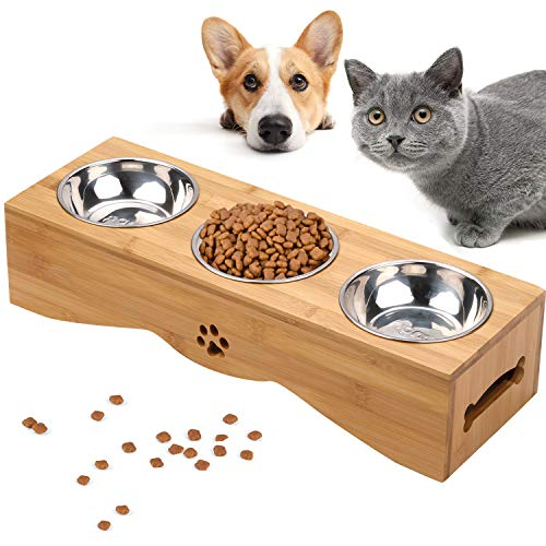 Cat Bowls, Pet Bowl Small Dog and Cat Bowls Stainless Steel Three Bowls Pet Feeder Pet Food Bowl for Cats