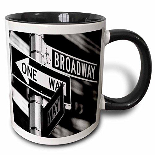 3dRose Broadway Two Tone Black Mug, 11 oz, Black/White