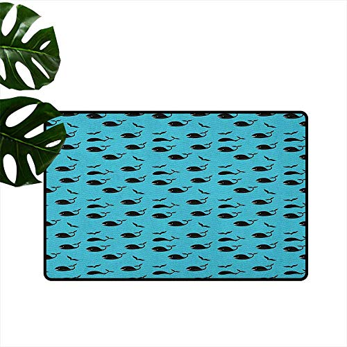 RenteriaDecor Whale,Rubber Door mat Abstract Blue Sea with Tiny Waves Smiling Swimming Diving Fish with Fins Aquatic 16