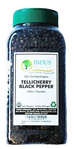 Indus Organics Tellicherry Black Peppercorns, 1 Lb Jar, Premium Grade, High Purity, Freshly Packed