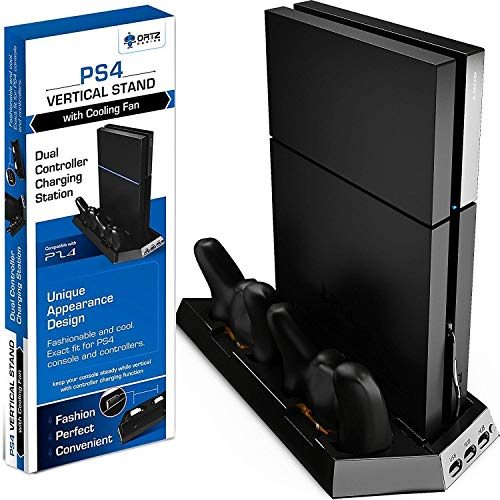 Ortz PS4 Vertical Stand with Cooling Fan [HIGHEST RATED] Controller Charging Station with Dual Charger (Ortz Ps4 Vertical Stand With Cooling Fan)