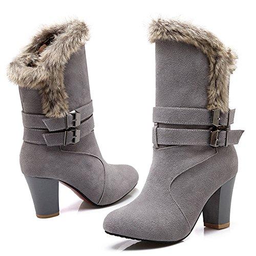 a TAOFFEN Gray Femmes Hiver TAOFFEN Enfiler Mode Bottes Femmes 6pYS6q