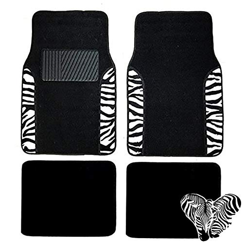 Zebra Floor Mats - LavoHome Premium Set of 4 Universal Fit Plush Carpet Zebra Exotic Two Tone Animal Print Front Back Floor Mats for Cars Trucks SUV Van