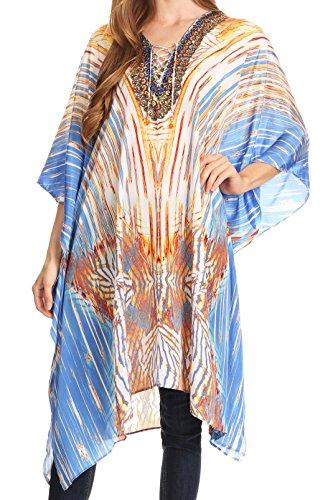 (Sakkas P2 - Kristy Long Tall Lightweight Caftan Dress/Cover Up with V-Neck Jewels - 17136-BlueOrangeNavy - OS)