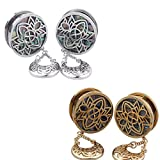 BODYA Unisex Stainless Steel Ear Tunnels Hollow Flower Dangles Plugs Silver and Gold Piercing Jewelry, Two Pairs/4Pcs (Gauage:22mm)