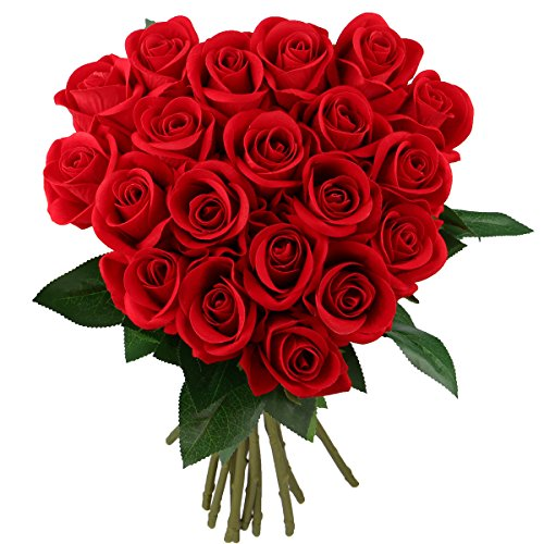 ers,Fake Silk Bouquet for Wedding Party Baby Shower Home Decor DIY Pack of 20 (20, Red) (20 Red Roses)