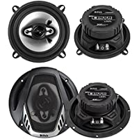 2) Boss NX524 5.25 300W + 2) NX654 6.5 400W 4-Way Car Audio Coaxial Speakers