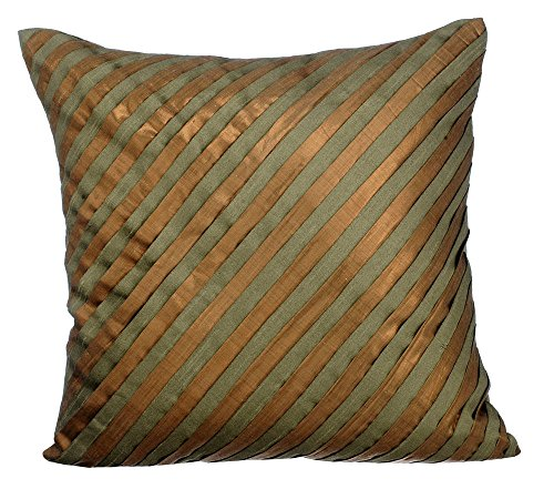The HomeCentric Decorative Pillow Covers 16 x 16 inch Green, Silk Throw Pillow Covers, Handmade Pillow Covers, Striped Pillow Covers, Modern Throw Pillow Covers - Unfolding Olive Copper