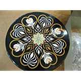 """23"""" Black Coffee Table Side Table End Table Patio Garden Table Sofa Table Round Shape Stones Inlai Marble Table Top"""