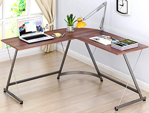 (SHW L-Shaped Home Office Corner Desk Wood Top, Walnut)
