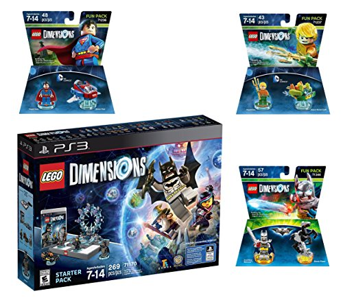 Lego Dimensions DC Comics Super Heroes Starter Pack + Superman + Batman + Aquaman Fun Packs for Playstation 3 PS3 Console by WB Lego
