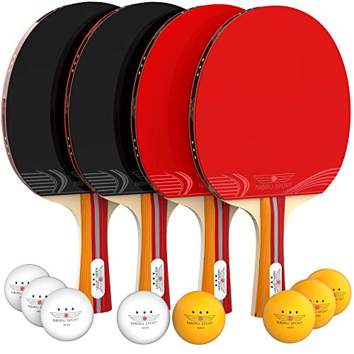 NIBIRU SPORT Ping Pong Paddle Set (4-Player Bundle), Pro Premium Rackets, 3 Star Balls, Portable Storage Case, Complete Table Tennis Set with Advanced Speed, Control and Spin, Indoor or Outdoor Play