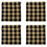Black Country and Tan Checker Square 18 x 18 All Cotton Napkin Pack of 4