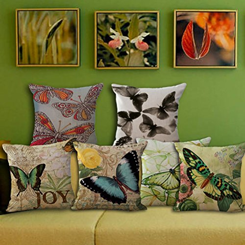 Cotton Throw Pillow Inserts : Butterfly Printing Stuffed Cushion LivebyCare Linen Cotton Cover Filling Stuffing Throw Pillow ...