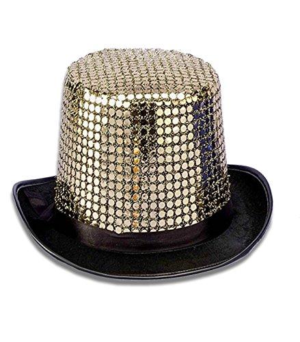 Forum Novelties Men's Sequin Novelty Top Hat, Gold, One -