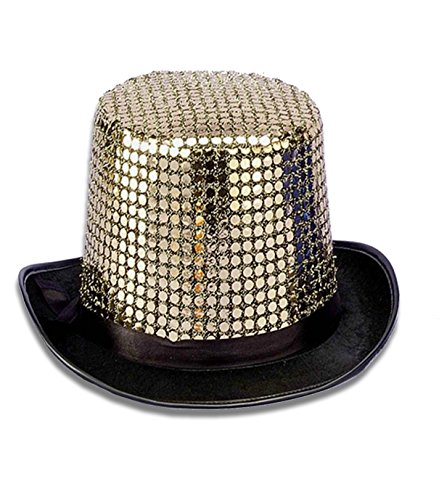 Forum Novelties Men's Sequin Novelty Top Hat, Gold, One Size ()