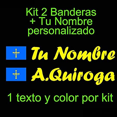 Blanco Pegatina Vinilo Bandera Asturias Coche Vinilin Bici Monopatin Kit de Dos Vinilos Pala De Padel tu Nombre Casco etc