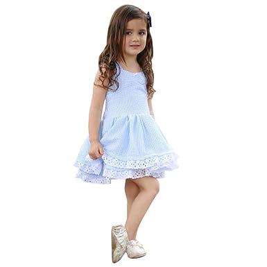 cfe8b58f1147c4 Rawdah Robe à Bretelles en Dentelle Rayée Bleues Printemps et été Toddler  Enfant Bébé Fille Robe de Princesse Dentelle Robe De Soirée pour ...