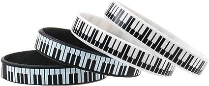 STOBOK 12pcs Noir et Blanc Touches de Piano Imprim/é Silicone Musique m/élomane Bracelet en Caoutchouc Bracelet Clavier pour Les Deux Femmes Hommes 202mm et 170mm // Chaque 6pcs