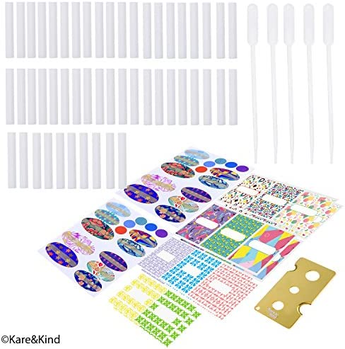 Kare & Kind Nasal Inhaler Tubes - Kit Contains: 20 Empty Nasal Inhaler Tubes (with Wicks) in 10, 20 Extra Wicks, 1 Opening Tool, 44 writable Stickers, 2 Mini droppers and 1 Pen