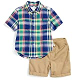 Polo Ralph Lauren Boys Madras Plaid Shirt & Khaki Shorts Set (9M)