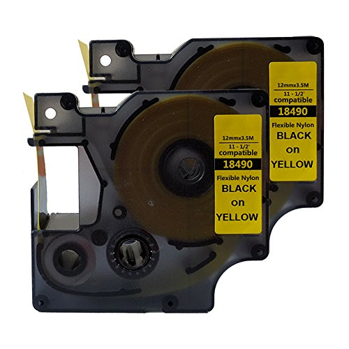 "NEOUZA Compatible for DYMO 18490 Rhino Industrial IND Flexible Nylon Black on Yellow Label Tape 12mm 1/2"" (2 Packs) ()"