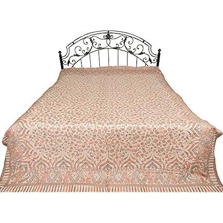 Gray Morn Jamawar Bedspread With Kani Weave Pure Wool