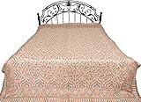 Gray-Morn Jamawar Bedspread with Kani Weave - Pure Wool