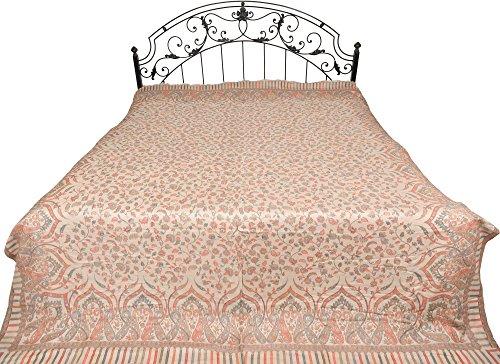 Gray-Morn Jamawar Bedspread with Kani Weave - Pure (Jamawar Bedspread)