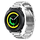 Berken for Samsung Gear Sport/Garmin vivoactive 3 Smart Watch Band,Latest Stainless Steel Metal Watch Strap Replacement Bracelet for Samsung Gear Sport(silvery)