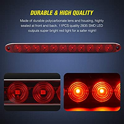 "Nilight 2PCS 16"" 11 LED Red Trailer Light Bar for Park Stop Turn signals Tail Brake Light DOT Compliant IP65 Waterproof Truck Trailer Marker ID Bar, 2 Years Warranty: Automotive"