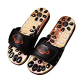 FJY Foot Massage Slippers Shoe Foot Care Reflexology Sandals With Natural Acupuncture Stones Mules Promote Blood Circulation and Improve Metabolism CM002,Professional Edition, black, 39/40 EU