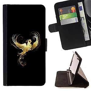 BullDog Case - FOR/Samsung Galaxy S6 / - / Golden Phoenix Flaming /- Monedero de cuero de la PU Llevar cubierta de la caja con el ID Credit Card Slots Flip funda de cuer