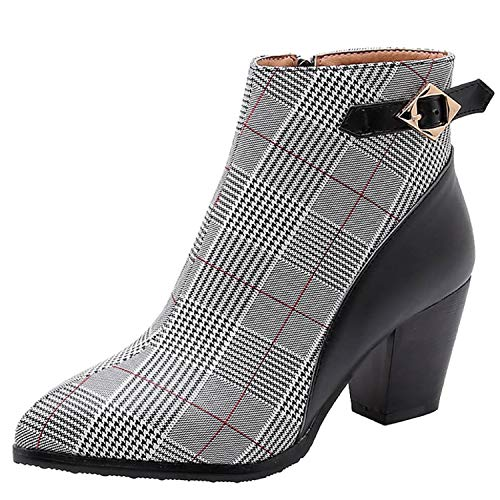 Women New Slingback Ankle Boots,Tsmile Autumn Winter Plaid Stripe High Heels Shoes Ladies Stylish Buckle Booties Black