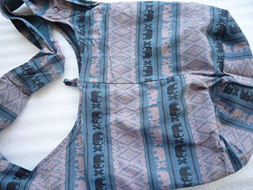 Éléphants Bleu Boutique Et Ariyas Sac En Main Avec Fleurs À noir De Coton Thai gXfqT