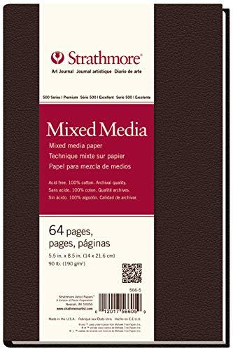 "Strathmore (566-5 500 Series Hardbound Mixed Media Art Journal, 5.5"" x 8.5"", White, 32 Sheets from Strathmore"