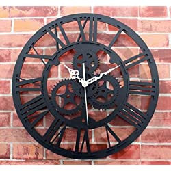 Phantomx Wall Clock Large Round Metal Color Vintage Steampunk Skeleton