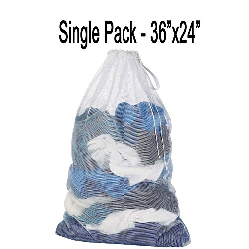 Mesh Laundry Bag Heavy Duty Storage Hanging Commercial With Drawstring Machine Washable Net Collapsible Delicates Produce Carry Lightweight for Travel, Weekender, Dirty Clothes, Socks, Garment White (Santa X-large)