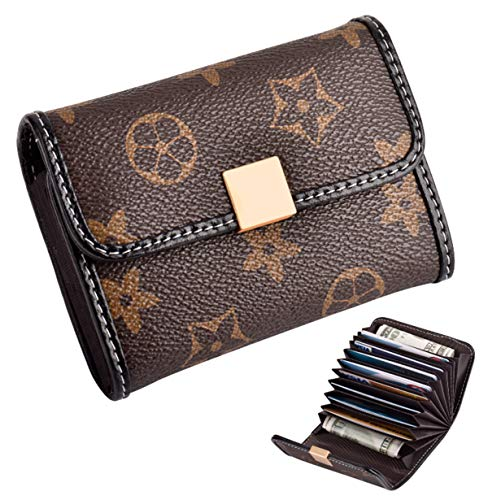 (Women's Small Rfid Credit Card Holder Wallet Mini Canvas Leather Coin Purse (coffee))