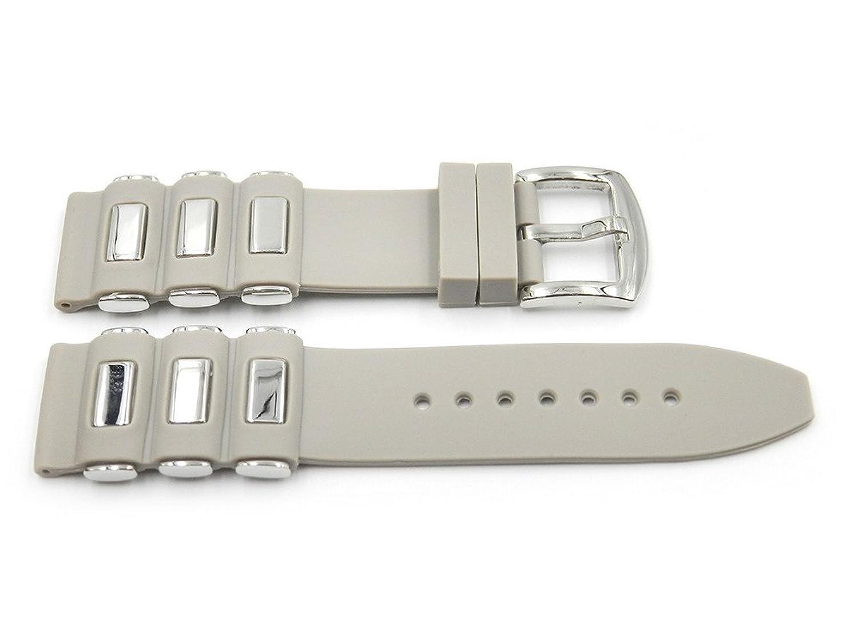 22 mm Grey Smooth Rubber / Silicone Watchバンドスチール挿入スタイルS / Sバックル  B071LGH9QQ