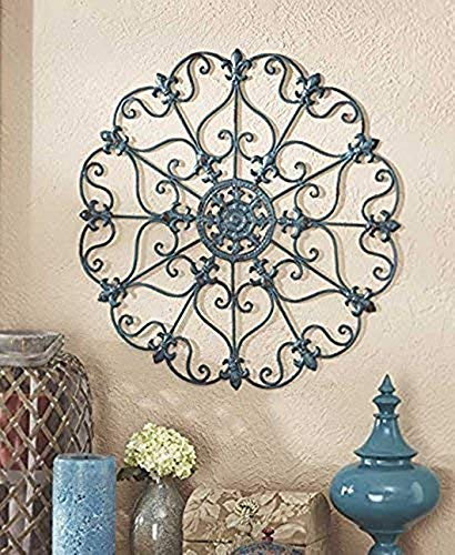 GetSet2Save Antique Treasure Turquoise Wall Metal Sculpture Medallion (Wall Metal Medallion Decor)