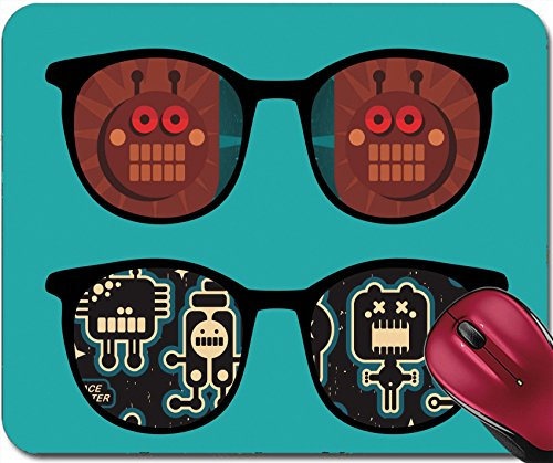 Reflections Crochet - Liili Mousepad IMAGE ID: 15607205 Retro sunglasses with robots reflection in it