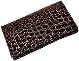 Budd Leather Croco Bidente Checkbook Cover, Brown
