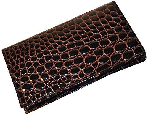 Budd Leather Croco Bidente Checkbook Cover, Brown by Budd Leather
