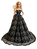 Barbie Black Floral Gown, Elegant Barbie Gown