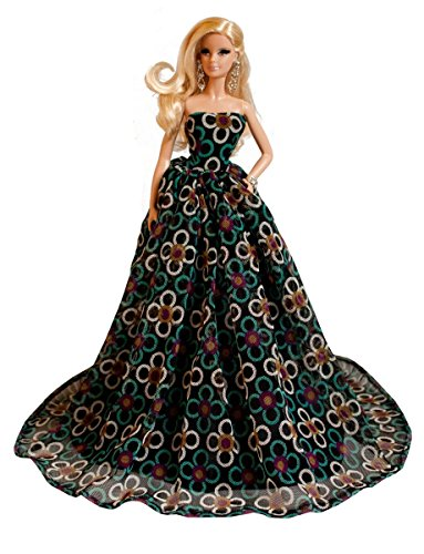 Barbie Black Floral Gown, Elegant Barbie Gown by Peregrine