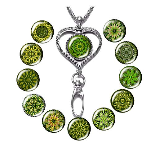 - Lanyard Necklace Snap Button Charm Necklace Office Lanyard ID Badges Holded Filigree Round Pendant Necklace Clip (E-Green Pattern)
