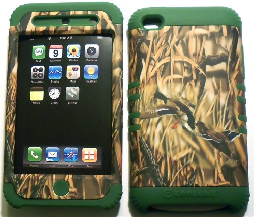 Camo Ducks on Green Silicone Skin for Apple ipod Touch iTouch 4G 4 Hybrid 2 in 1 Rubber Cover Hard Case (Ipod 4g Case Camo)